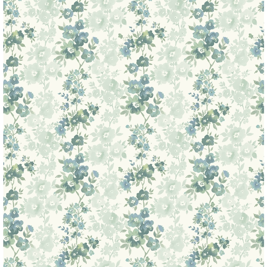 Brewster Wallcovering Ami Teal Non-Woven Floral Wallpaper