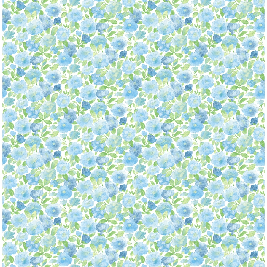 Brewster Wallcovering Ami Sky Blue Non-Woven Floral Wallpaper