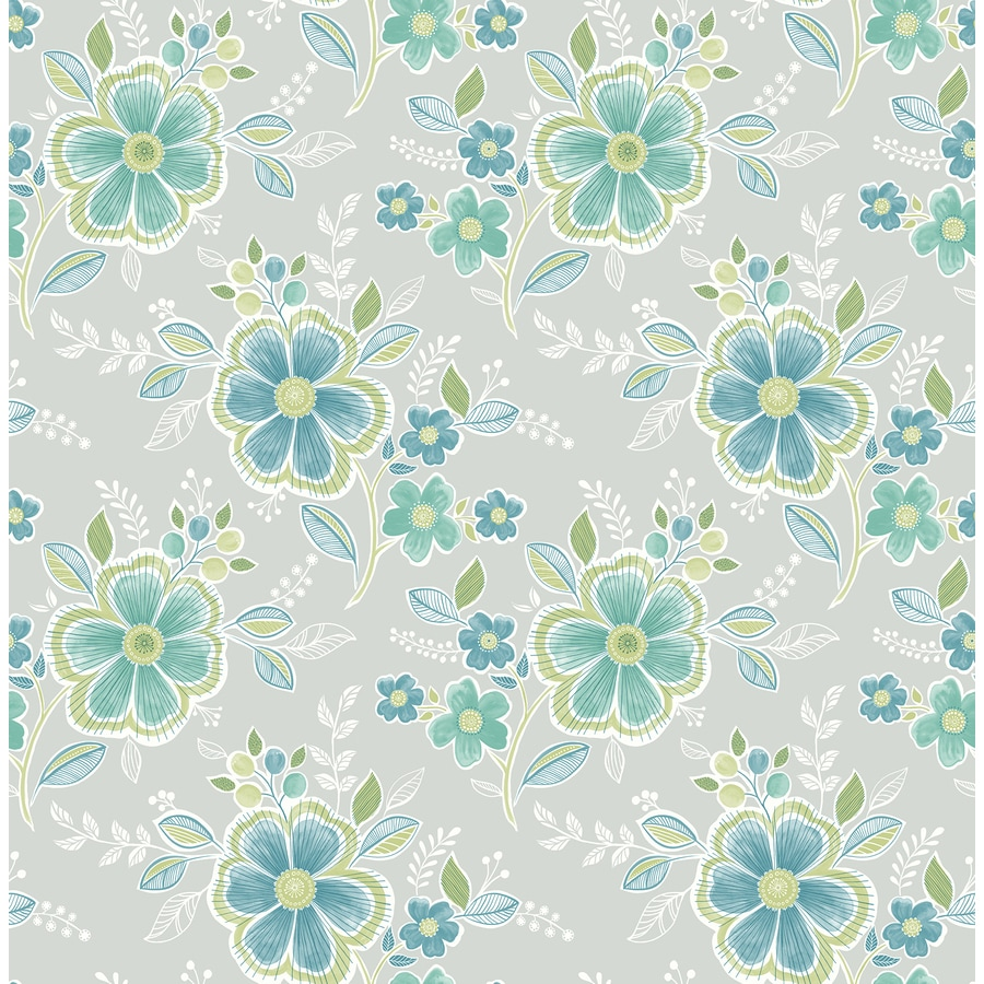 Brewster Wallcovering Ami Green Non-Woven Floral Wallpaper