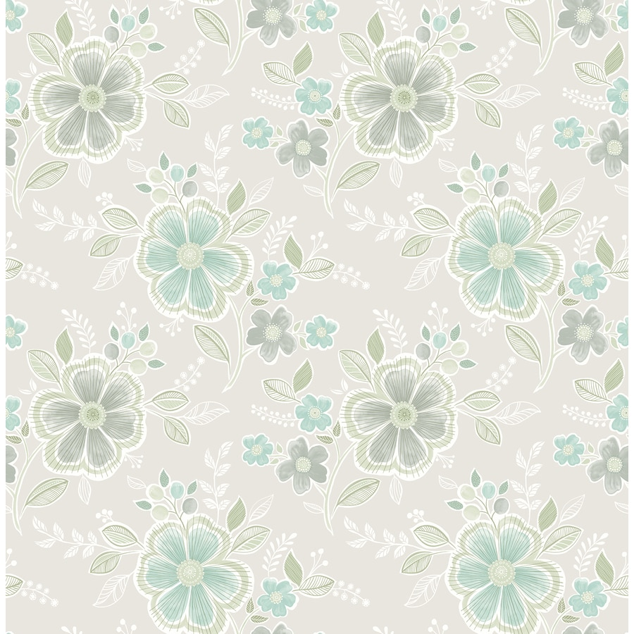 Brewster Wallcovering Aquamarine Classic Floral Wallpaper