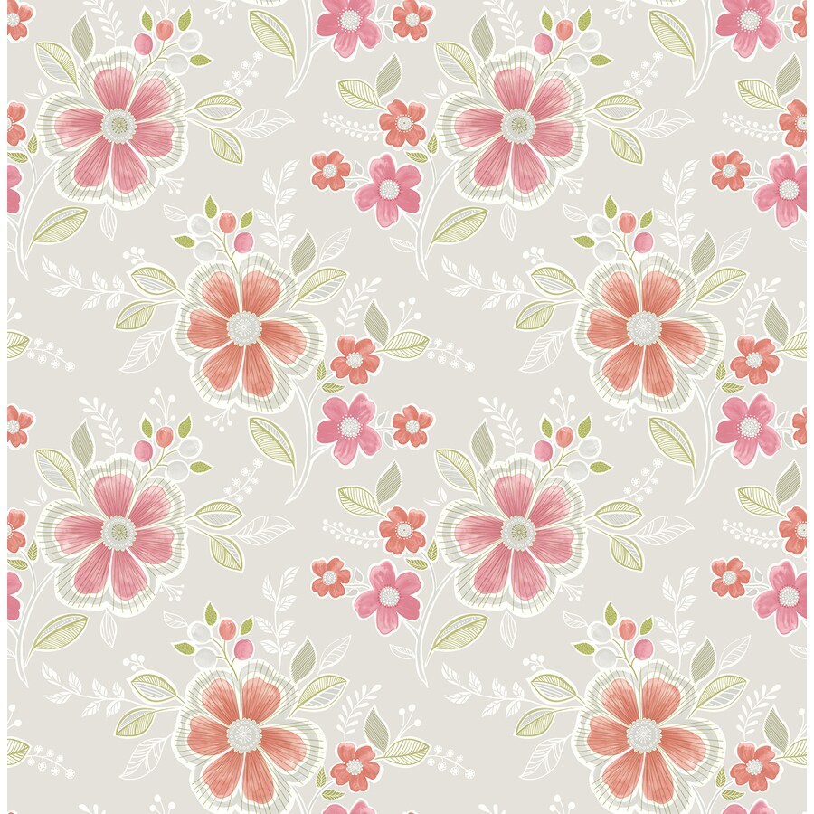 Brewster Wallcovering Ami Peach Non-Woven Floral Wallpaper