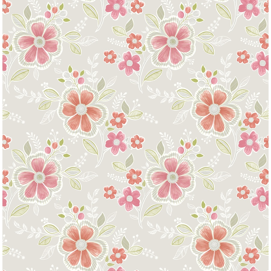Brewster Wallcovering Ami Peach Non-Woven Floral Wallpaper