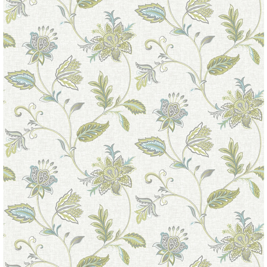 Brewster Wallcovering Turquoise Classic Floral Wallpaper