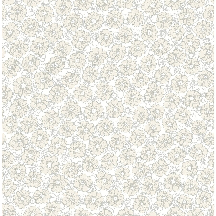 Brewster Wallcovering Ami Taupe Non-Woven Floral Wallpaper
