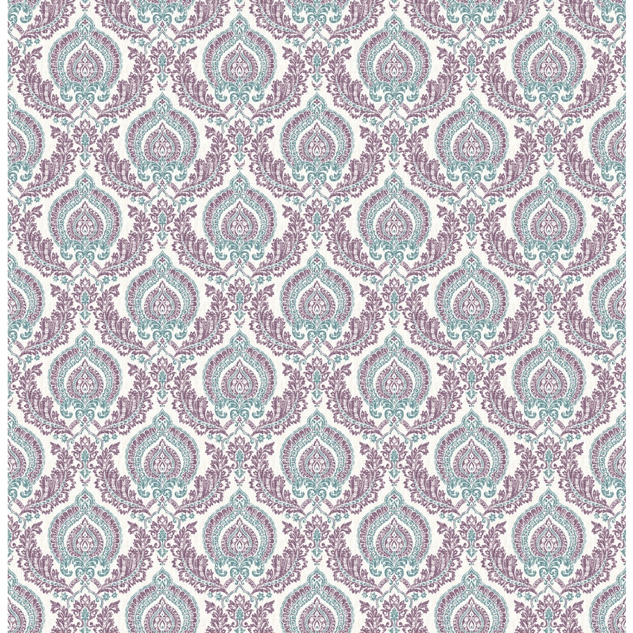 Brewster Wallcovering Ami Plum Non-Woven Damask Wallpaper