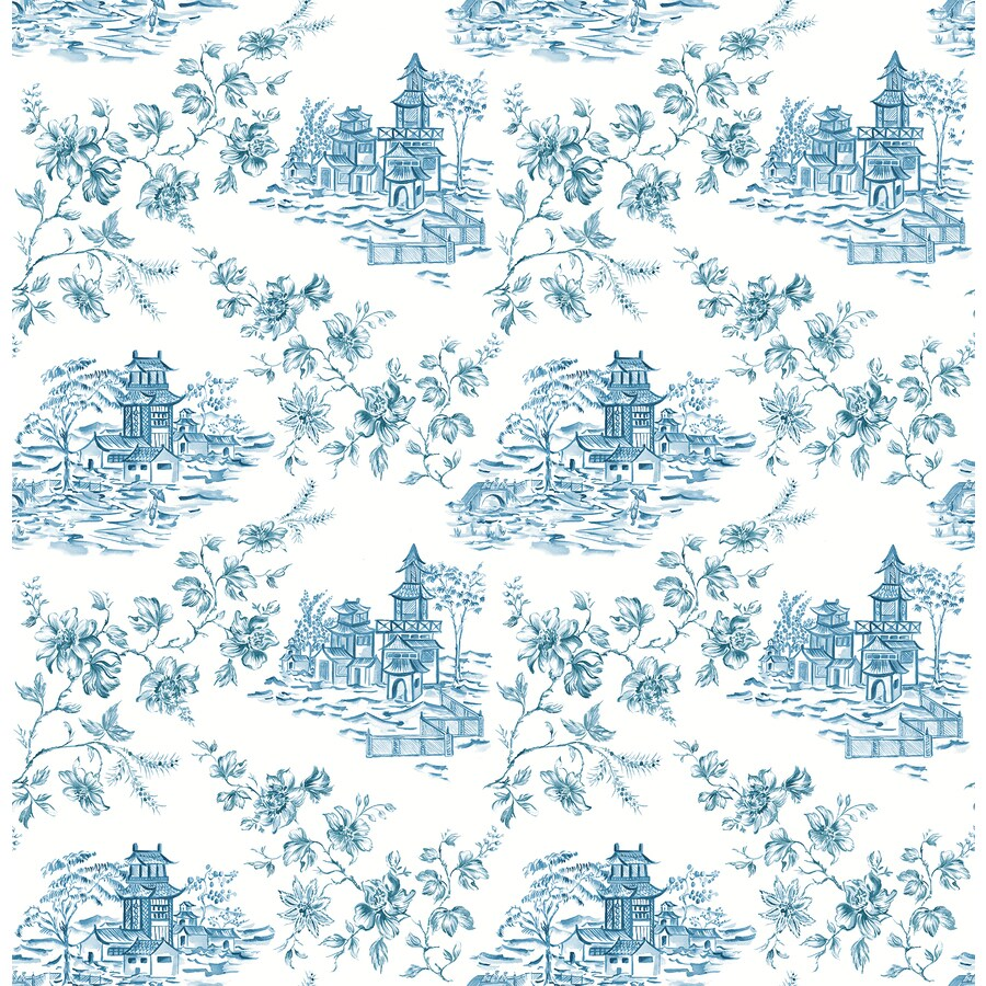 Brewster Wallcovering Ami Blueberry Non-Woven Toile Wallpaper