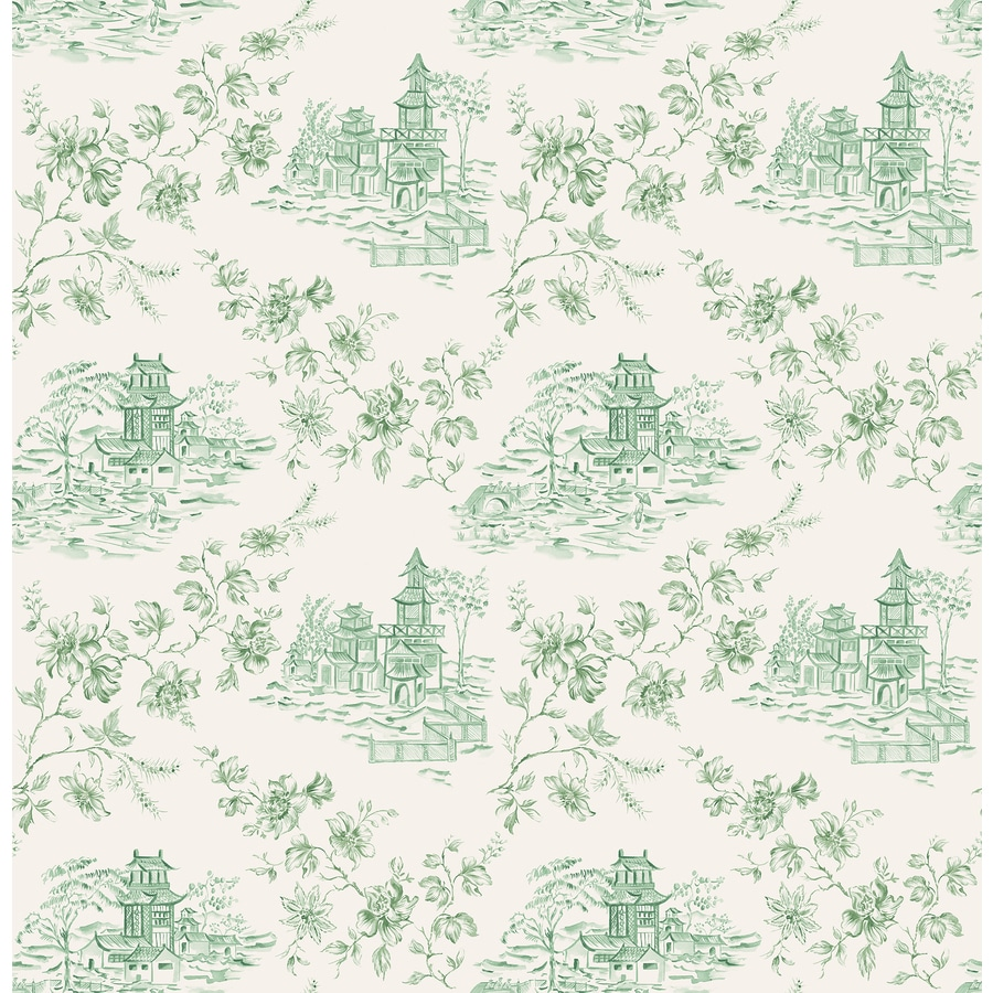 Brewster Wallcovering Ami Green Non-Woven Toile Wallpaper