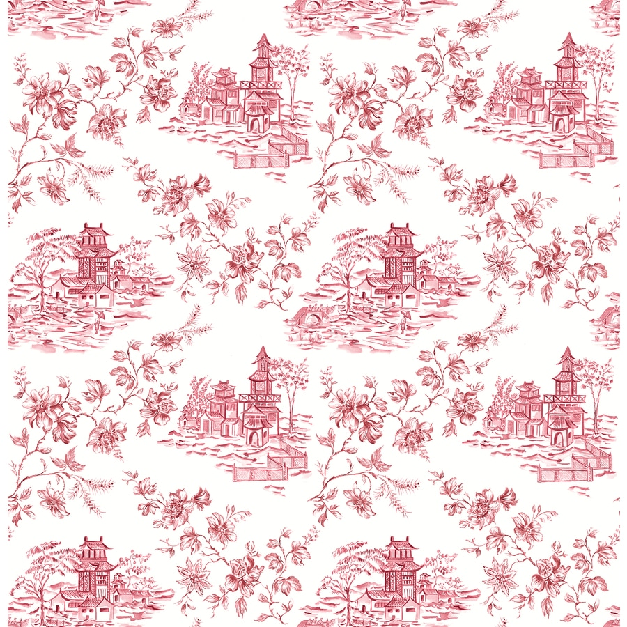 Brewster Wallcovering Ami Merlot Non-Woven Toile Wallpaper