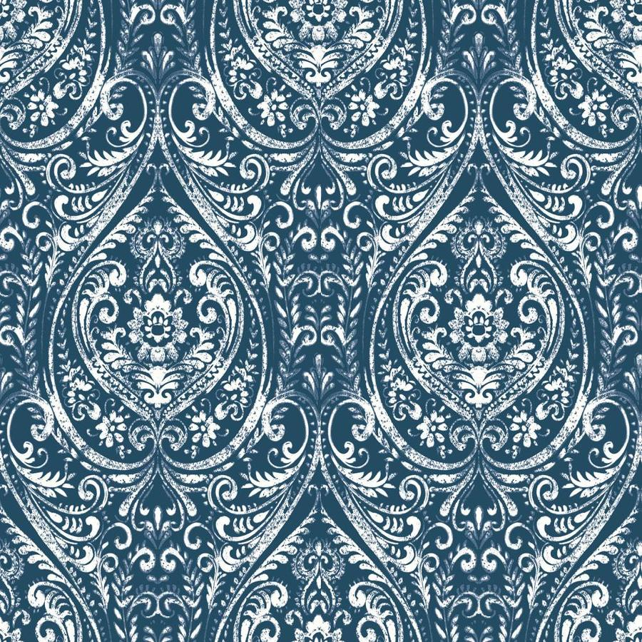 Brewster Wallcovering Peel and Stick Indigo Vinyl Damask Wallpaper