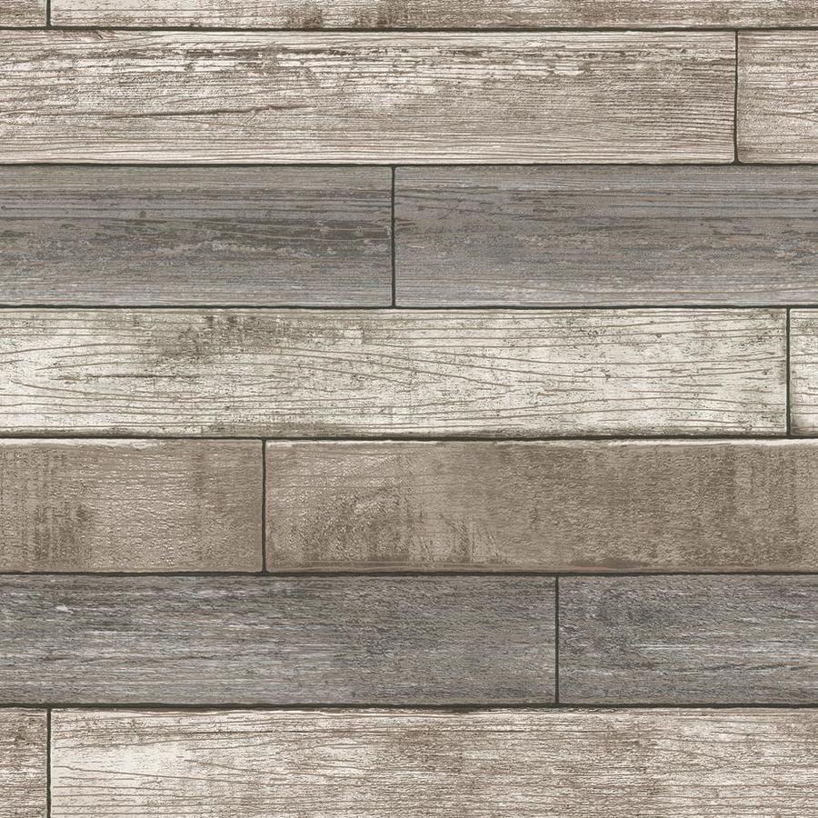 Shop brewster wallcovering peel and stick beige vinyl wood for Wood wallpaper for walls
