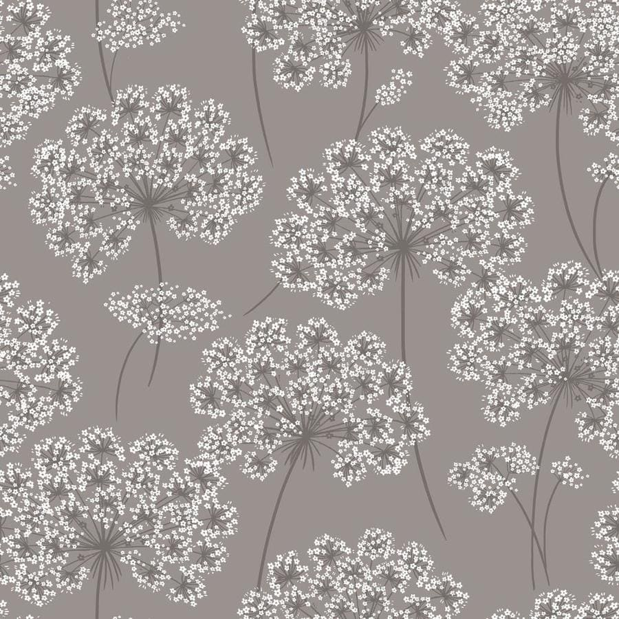 Brewster Wallcovering Peel and Stick Grey Vinyl Floral Wallpaper