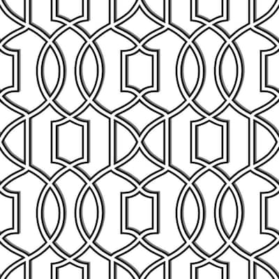 Nuwallpaper 30 75 Sq Ft Black White Vinyl Geometric Peel And