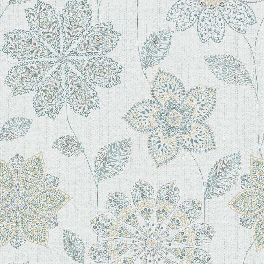 Shop brewster wallcovering peel and stick blue vinyl Floral peel and stick wallpaper