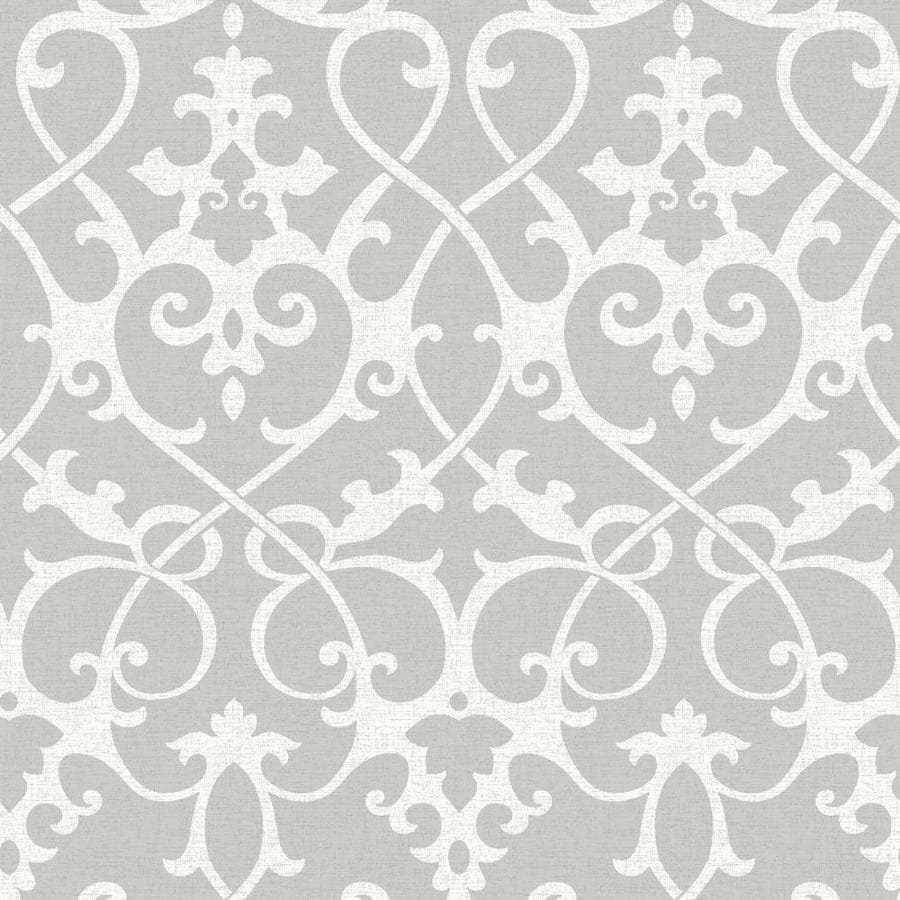 Shop nuwallpaper ft grey vinyl damask peel and for Gray vinyl wallpaper