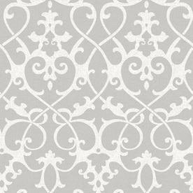 Nuwallpaper 30 75 Sq Ft Grey Vinyl Damask L And Stick Wallpaper