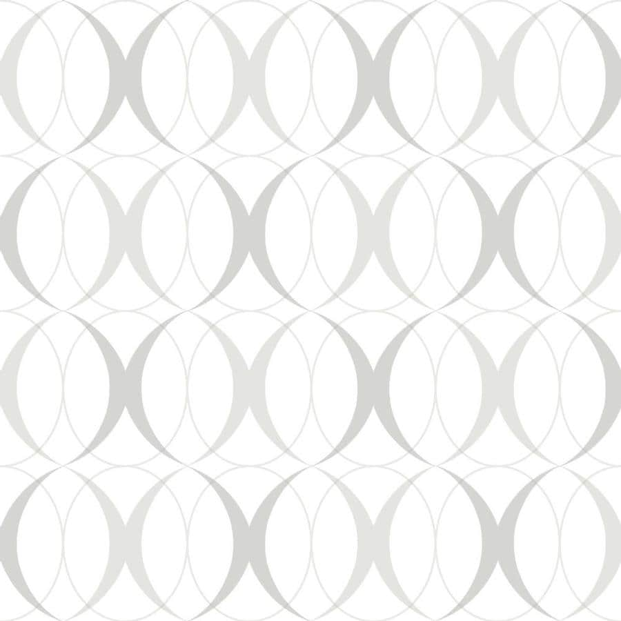 Brewster Wallcovering Peel and Stick Silver Vinyl Geometric Wallpaper