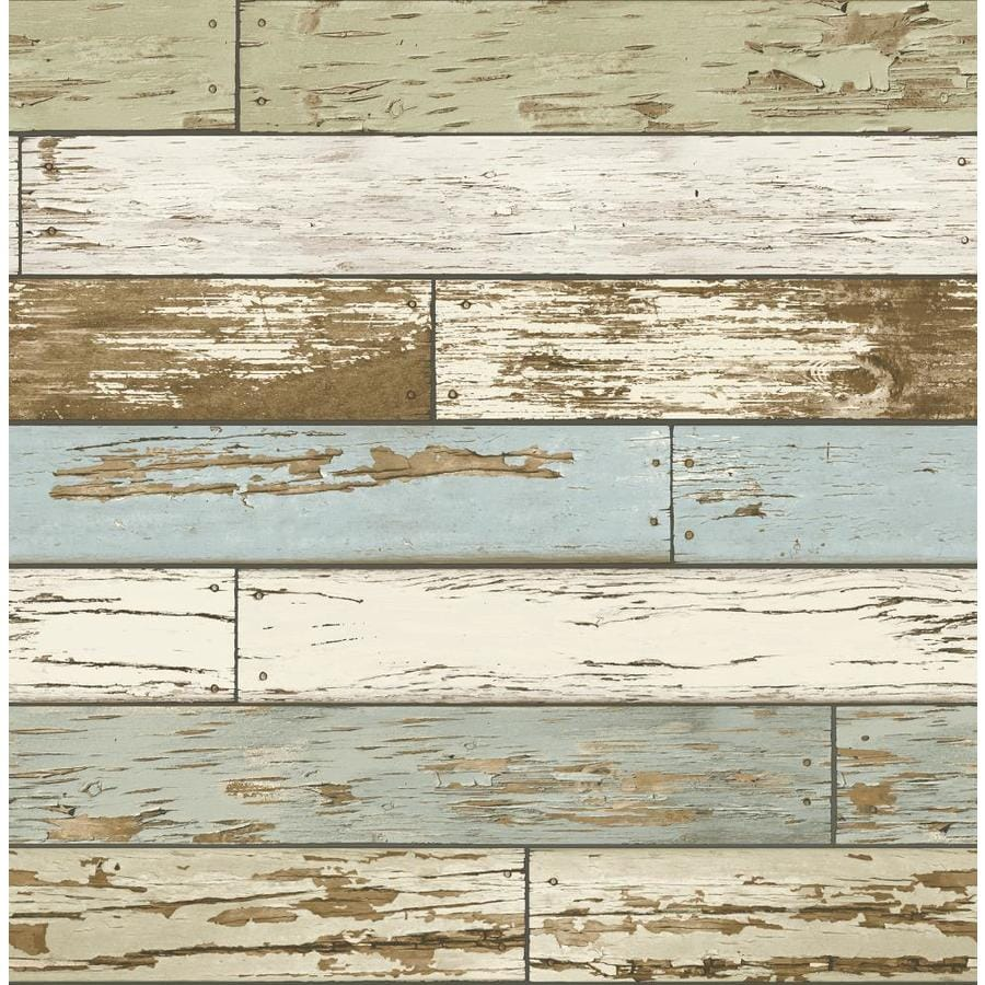 Shop brewster wallcovering reclaimed 56 4 sq ft sky blue for 3d wood wallpaper