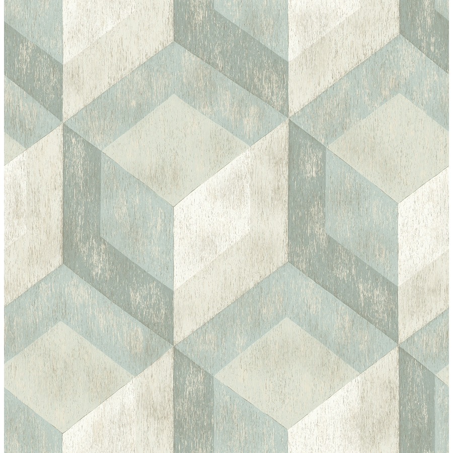 Brewster Wallcovering Reclaimed 56-sq ft Green Non-Woven Geometric  Wallpaper