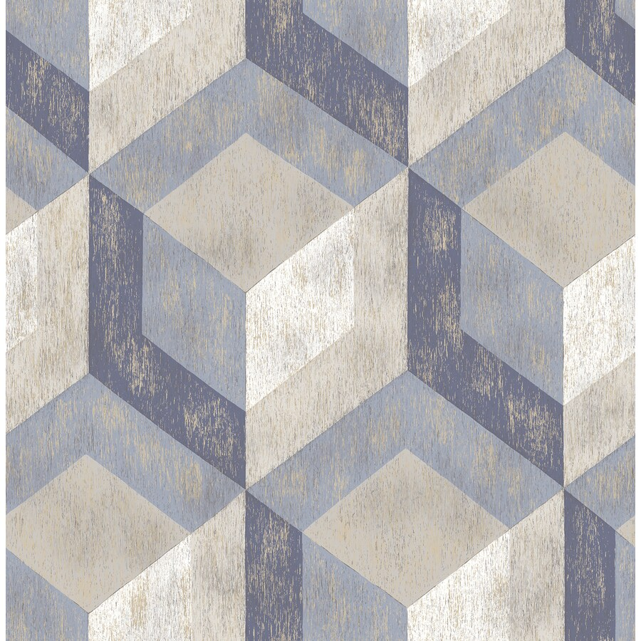 Brewster Wallcovering Reclaimed Blue Non-Woven Geometric Wallpaper