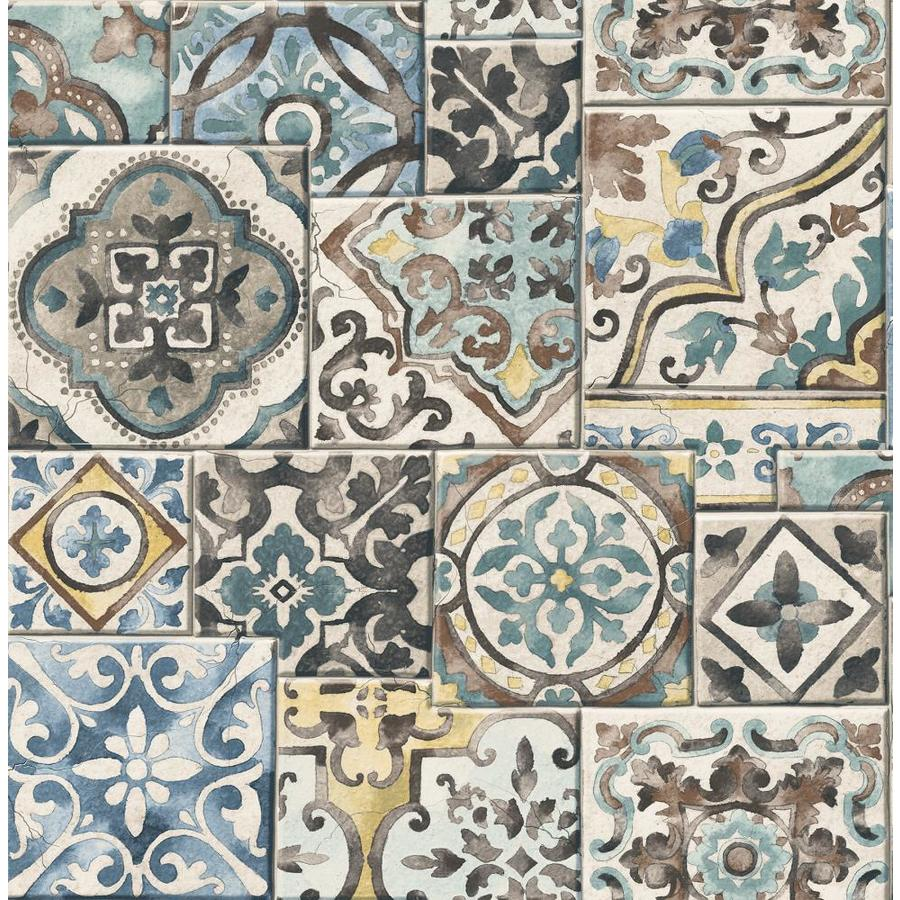 Brewster Wallcovering Reclaimed Teal Non-Woven Tile Wallpaper