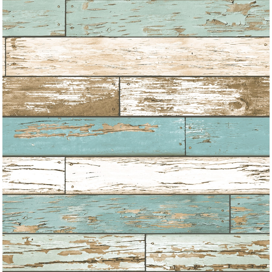 Shop brewster wallcovering reclaimed turquoise non woven for Home wallpaper wood