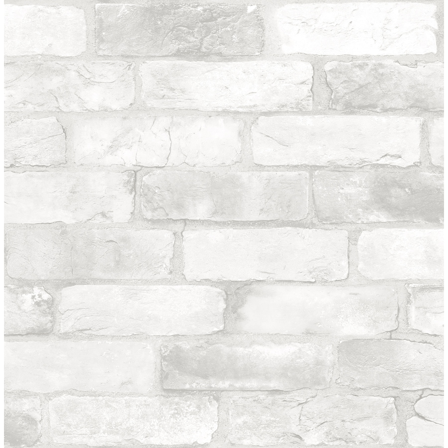 Brewster Wallcovering Reclaimed White Non-Woven Brick Wallpaper