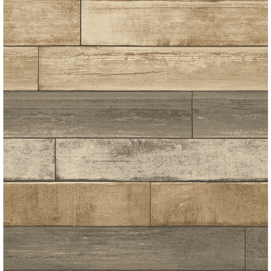 Shop brewster wallcovering reclaimed wheat non woven textured wood 3 d wallpaper at - Wood effect bathroom wallpaper ...
