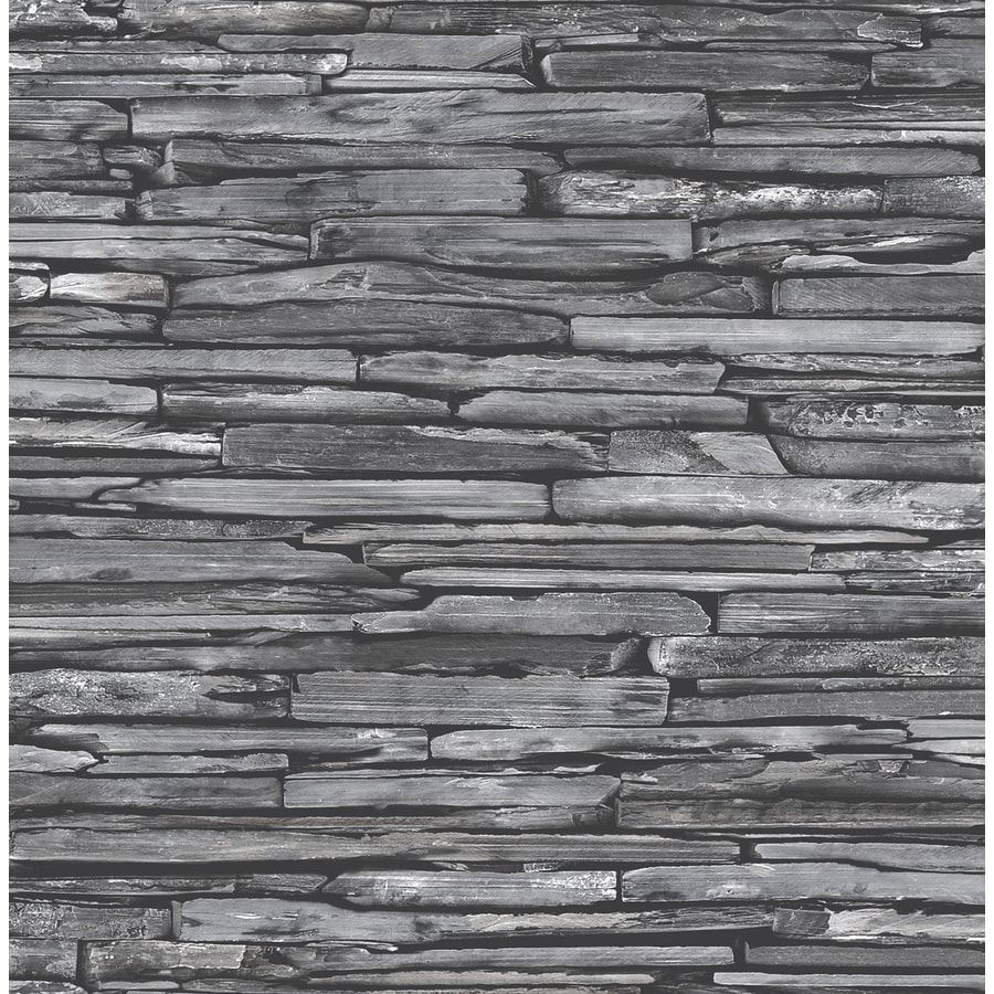 Brewster Wallcovering Reclaimed Charcoal Non-Woven Stone Wallpaper