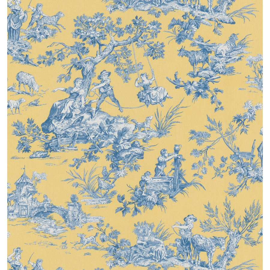 Brewster Wallcovering Blue and Yellow Strippable Vinyl Prepasted Wallpaper