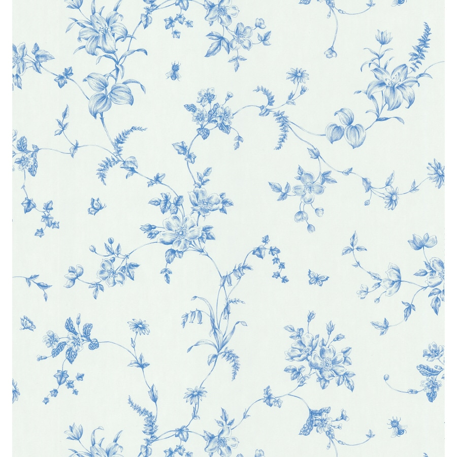 Brewster Wallcovering Blue And White Floral Strippable Vinyl