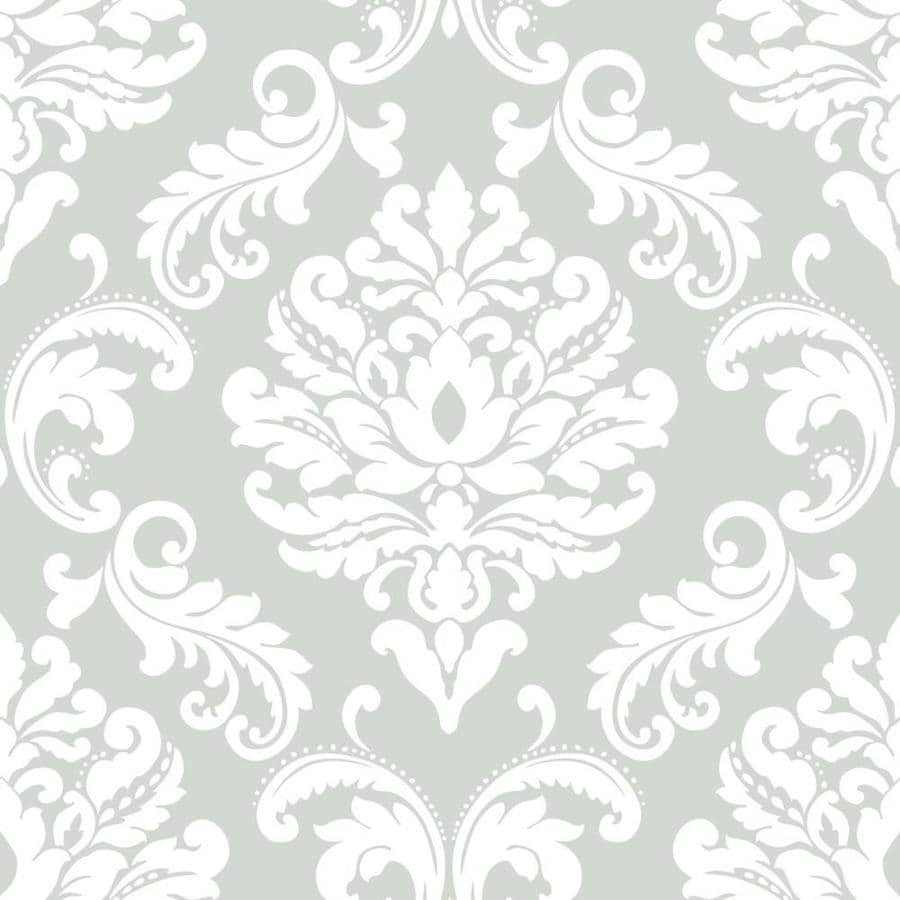 Shop nuwallpaper 30 8 sq ft grey vinyl damask peel and for Vinyl peel and stick wallpaper