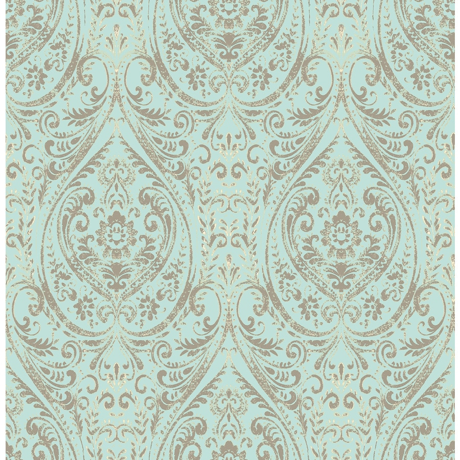 NuWallpaper 30.8-sq Ft Turquoise Vinyl Floral Peel And