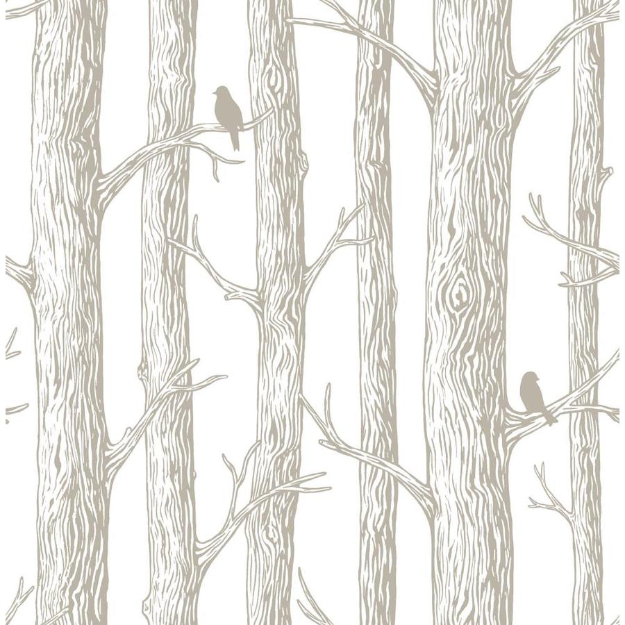 Shop nuwallpaper 30 8 sq ft grey vinyl birds peel and for Paintable peel n stick wallpaper
