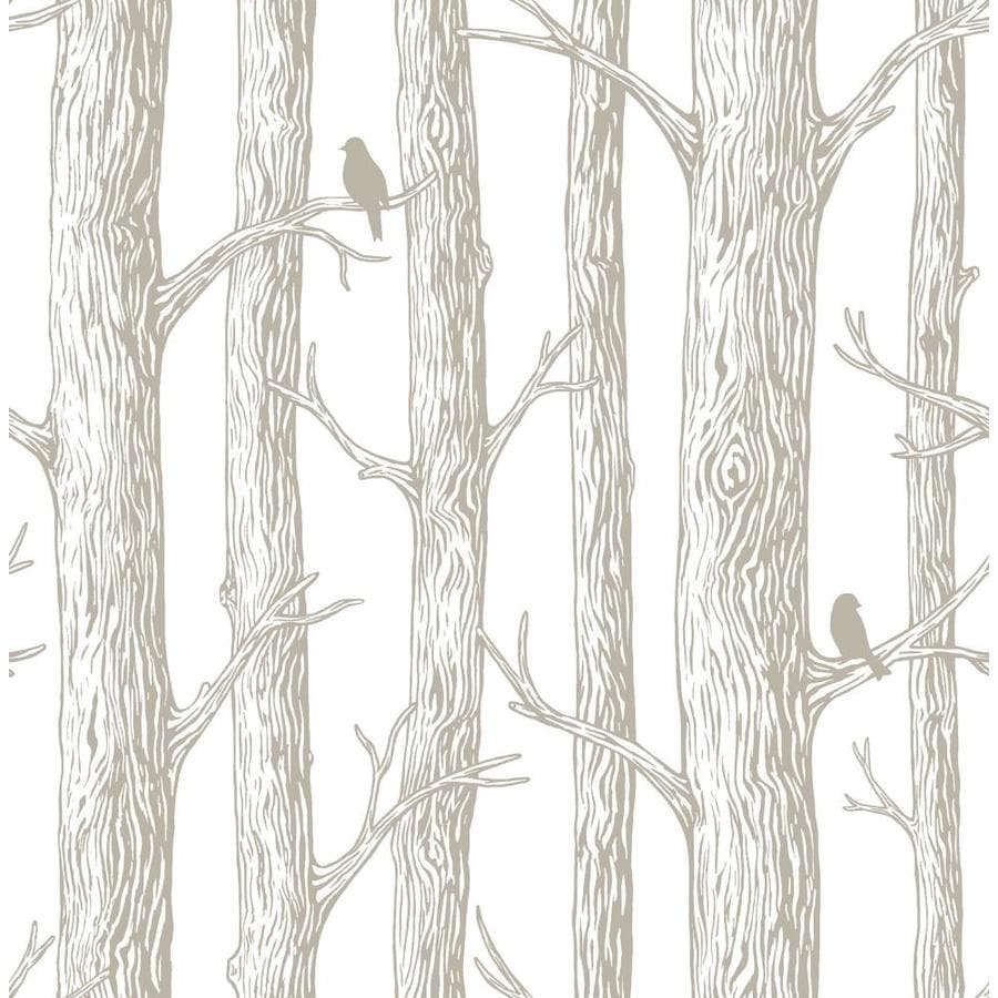 Shop nuwallpaper 30 8 sq ft grey vinyl birds peel and for Vinyl peel and stick wallpaper