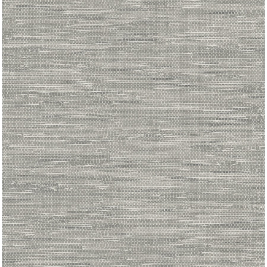 Shop nuwallpaper gray vinyl grasscloth wallpaper at for Gray vinyl wallpaper