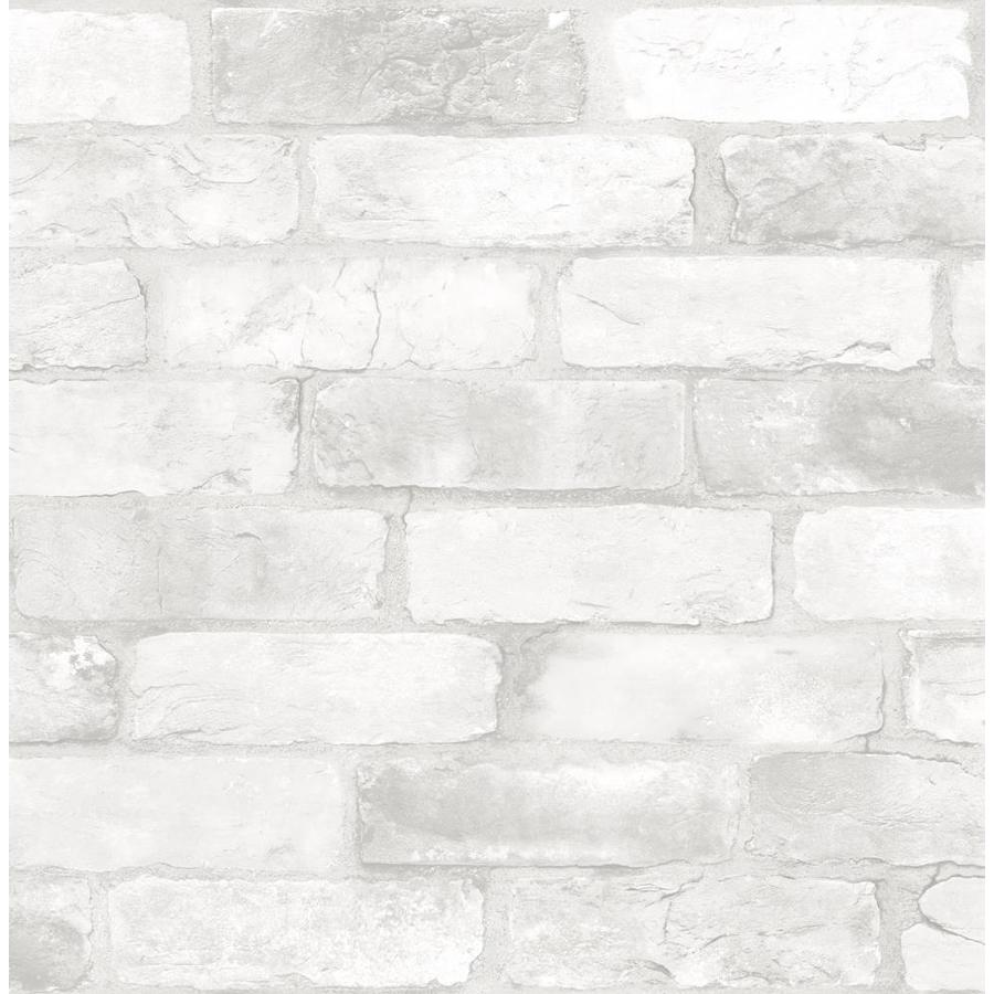Shop wallpops ft white vinyl brick peel and stick for Vinyl peel and stick wallpaper