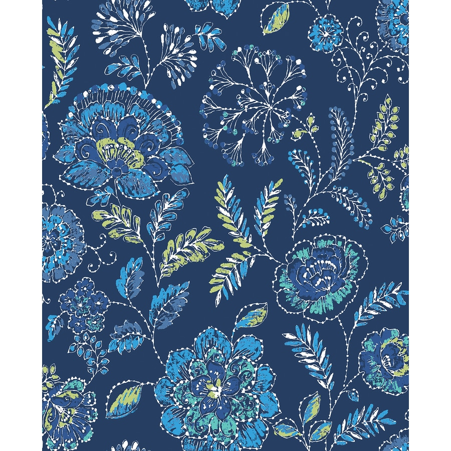Brewster Wallcovering Solstice Navy Floral Wallpaper