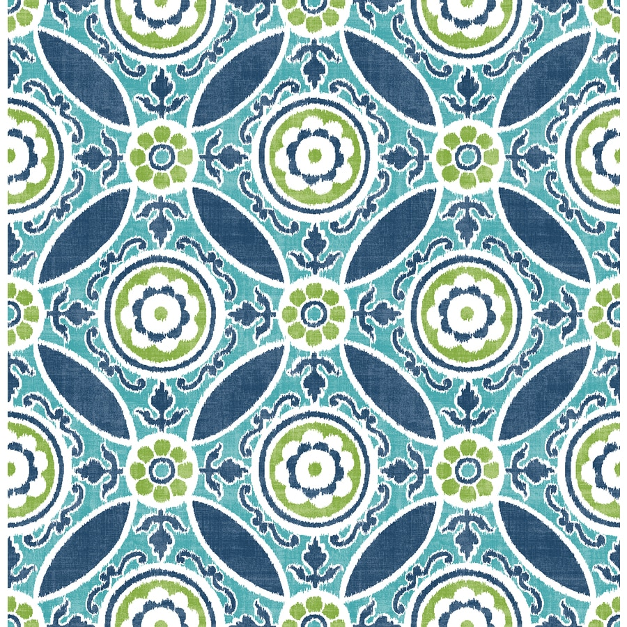 Brewster Wallcovering Solstice Teal Non-Woven Floral Wallpaper