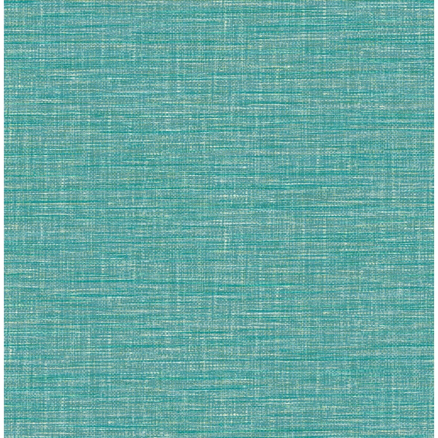 Brewster Wallcovering Exhale Teal Faux Grasscloth Wallpaper