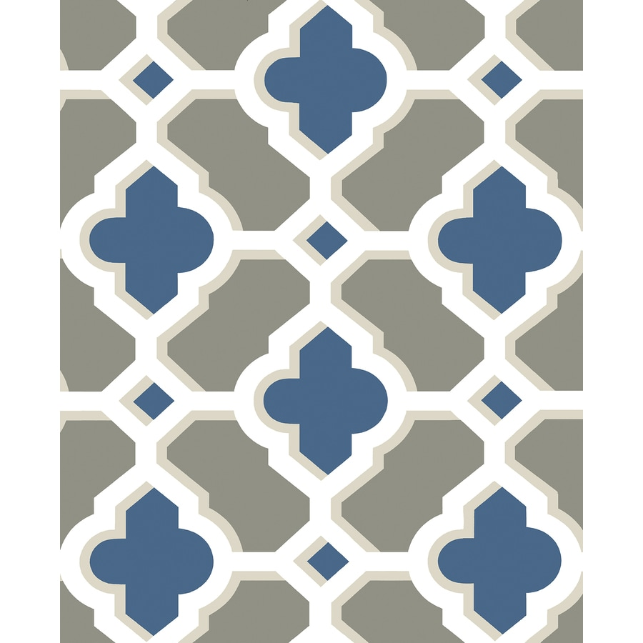 Brewster Wallcovering Lido Navy Quatrefoil Wallpaper