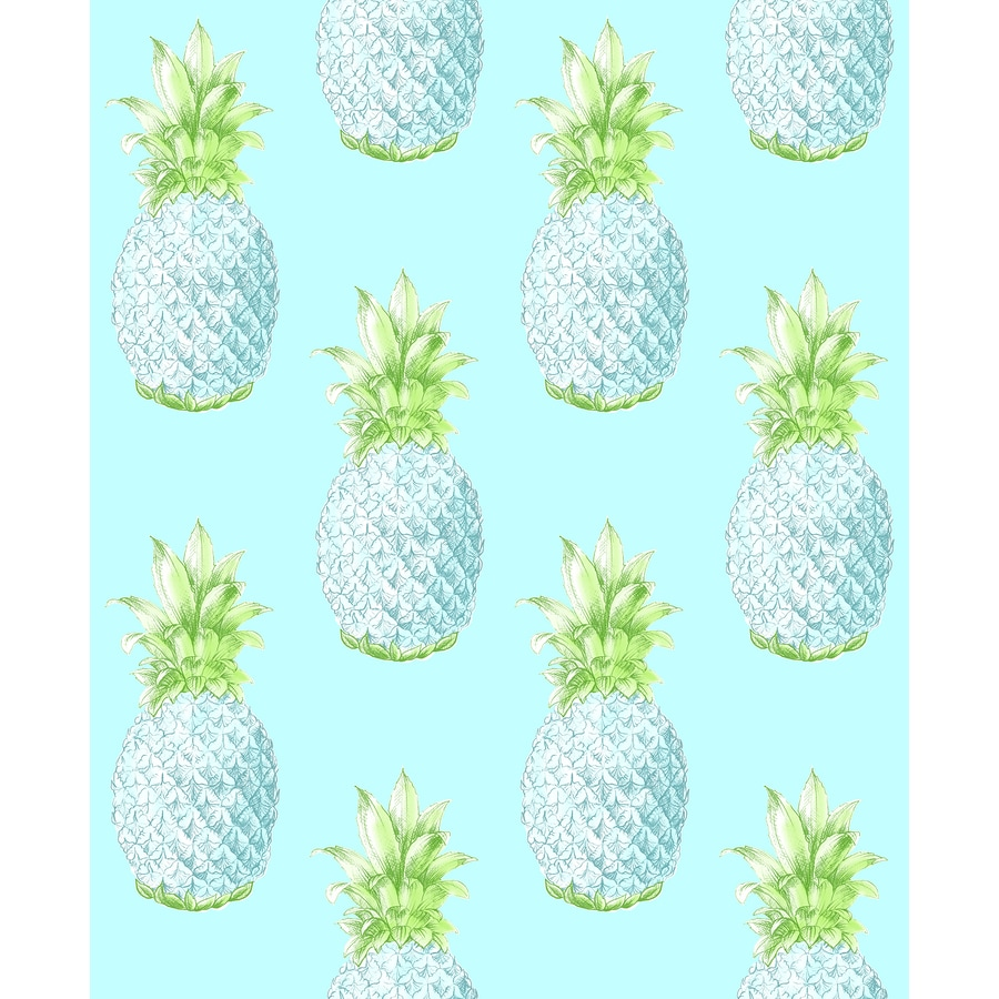 Brewster Wallcovering Copacabana Turquoise Pineapple Wallpaper