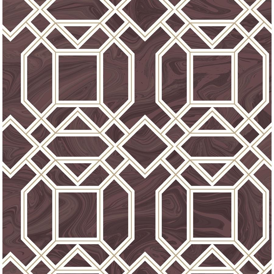 Brewster Wallcovering Daphne Maroon Trellis Wallpaper