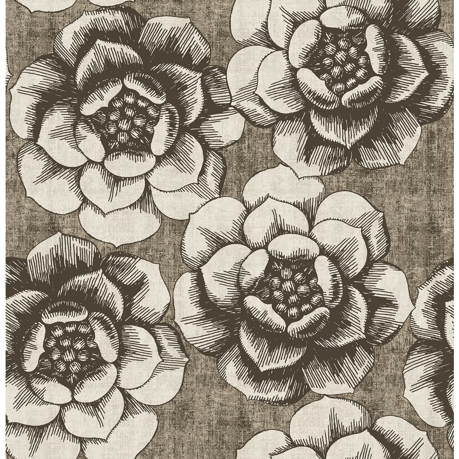 Brewster Wallcovering Fanciful Brown Floral Wallpaper