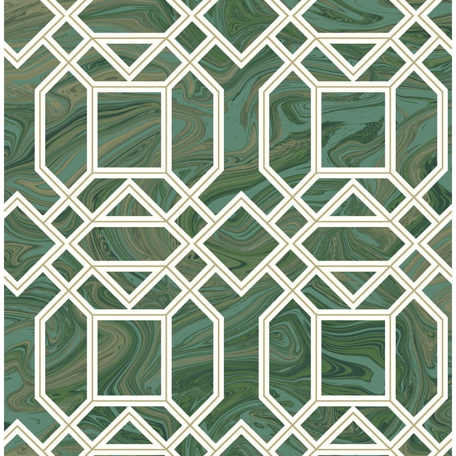 Brewster Wallcovering Moonlight 56.4-sq ft Green Non-Woven Geometric  Wallpaper
