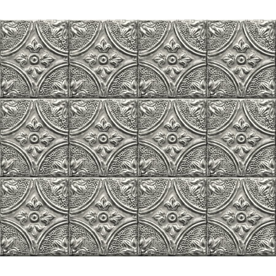 - Brewster Silver Tin Tile Peel And Stick Backsplash In The Wall