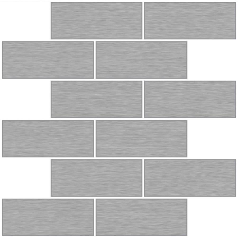 - InHome Metro Brushed Silver Peel And Stick Backsplash Tiles In The