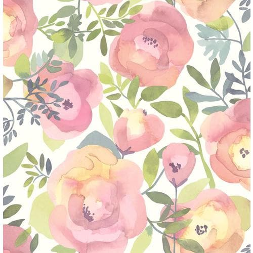 Nuwallpaper 30 75 Sq Ft Pink Vinyl Floral Self Adhesive Peel And Stick Wallpaper In The Wallpaper Department At Lowes Com