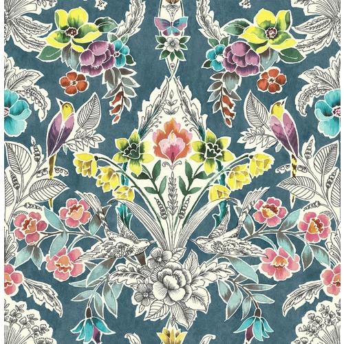 Nuwallpaper 30 75 Sq Ft Vinyl Floral Self Adhesive Peel And Stick Wallpaper In The Wallpaper Department At Lowes Com