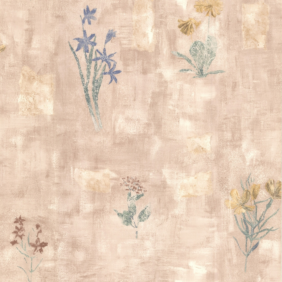 Brewster Wallcovering Kitchen and Bath Resource III Mauve Vinyl Floral Wallpaper