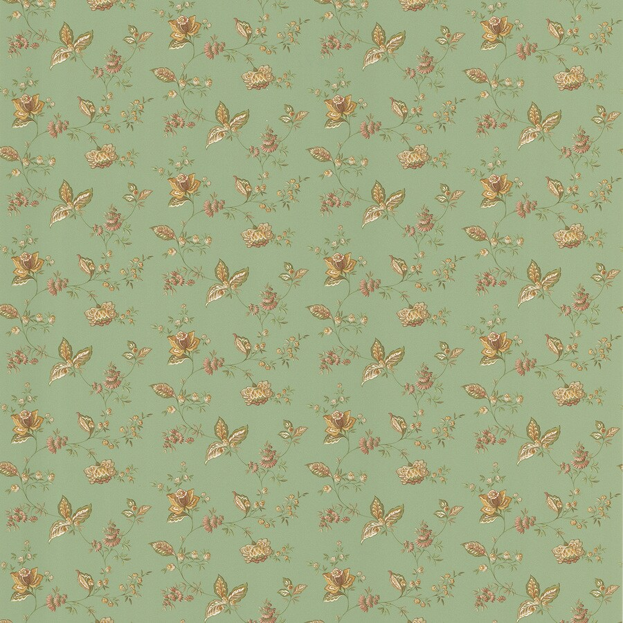 Brewster Wallcovering Kitchen and Bath Resource III Green Vinyl Floral Wallpaper